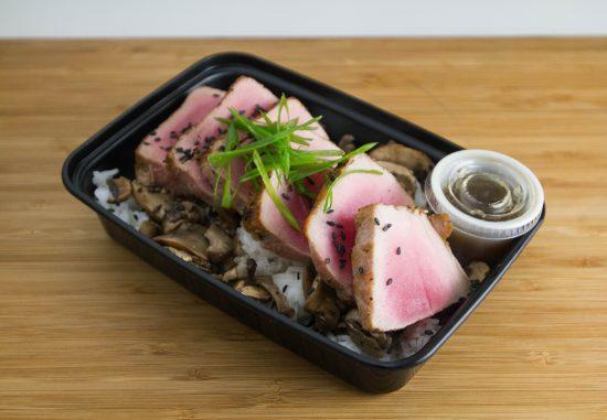 Ahi Served over White Rice & Mushrooms