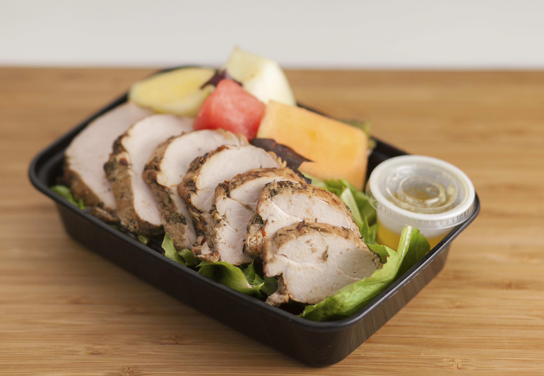Jerk Pork Tenderloin Salad w/Fresh Fruit
